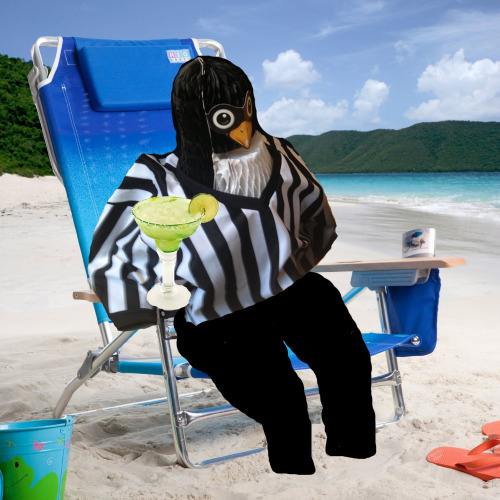 Commissioner Barpenguin drinking margaritas on the beach.