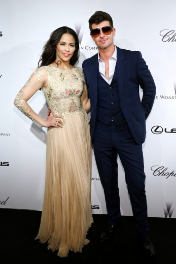 Paula Patton and Robin Thicke attend The Weinstein Company Party in Cannes  Photo Credit: Neilson Barnard/Getty Images
