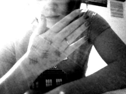 "purpleshirtofjohnlock:  Went to school with tally marks on my hands.Four people asked me what it was.One girl practically had a panic attackAnd my science teacher asked me if I'd seen the Silence, so I responded ""The What?"" and his face went blank, and he replied. ""What were you asking me about?"" I just about cried laughing so hard."