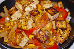 meaghanherself:  Tofu, red bell pepper, onion, roasted sweet corn stir fry using Frontera Key Lime Cilantro skillet sauce.
