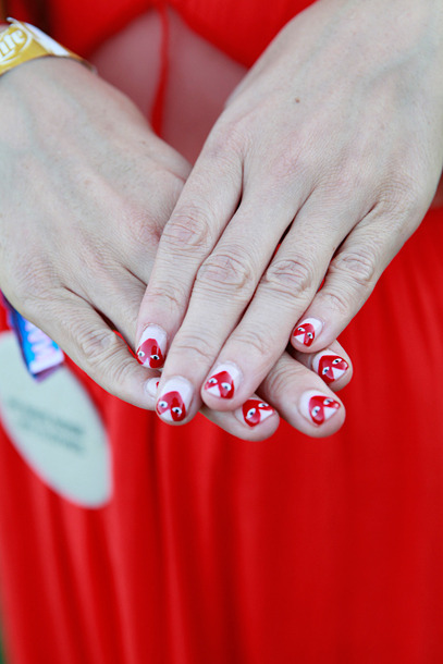 Perfect sweetheart nail art inspired by Commes des Garcons via The Cut.