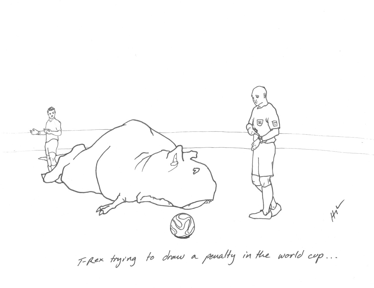 T-Rex trying to draw a penalty in the World Cup… #TRexTrying #worldcup #worldcup2014