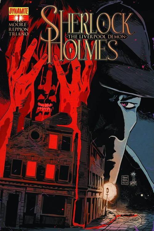 Market Monday Sherlock Holmes: The Liverpool Demon #1, co-written by Leah Moore  Sherlock Holmes is busy doing what he does best, solving a case of far-reaching international notoriety. It has landed him at the Port of Liverpool, a bustling hub of commerce both legitimate and illicit. As that chapter closes, ours begins. They head to Lime Street Station, to catch a fast steam locomotive home to London and Baker Street, when violent weather keeps The Great Detective and Watson in Britain's second city a while longer. Long enough to encounter a monster, discover the Liverpool underworld, and to become embroiled in one of his strangest cases yet.  ~Preview~
