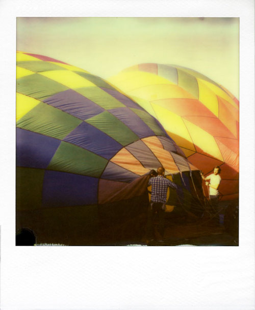 erinmcguirephotography:  Hot air balloons at Calico Ghost Town Impossible Project PX70 Color Protection instant color film.
