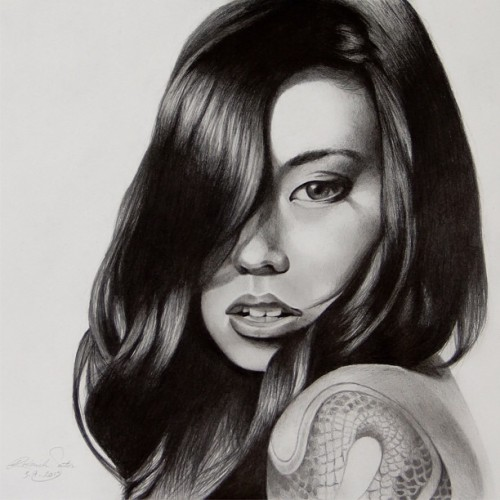 "Portrait drawing of Dali Suicide @thespaceelephant for @suicidegirls #sgfanart  Original photo taken by Darryl Yu @darryldarko… Graphite on 11""x24"" paper"