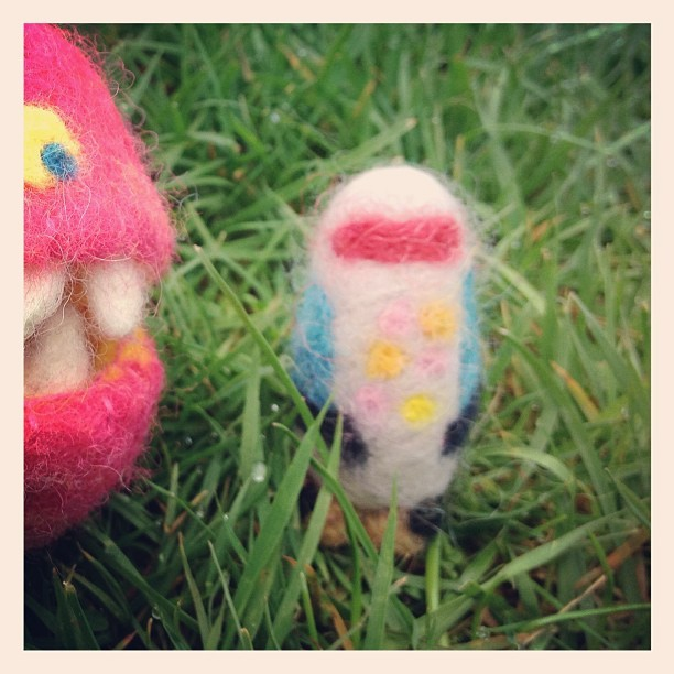 I also needle felted this little guy to go inside the monster's mouth. Supposed to be a robot, but looks more like a penguin or an owl.