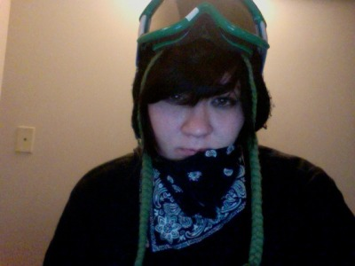 Sleepy panda goes snowboarding