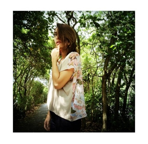 in full bloom / mahina in contrast tee with watercolor floral chiffon back / photo - brooklynhawaii