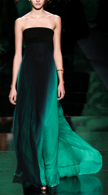 Gorgeous emerald ombre gown by Monique LhuillierNYFW Fall 2013 RTW