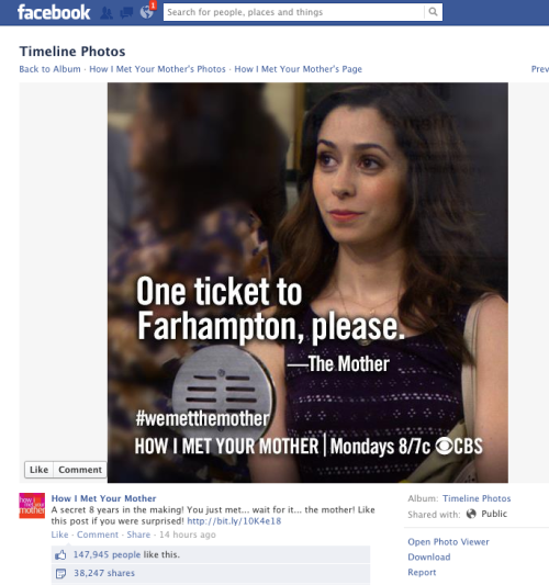 Did 'HIMYM' Screw Over Its Fans on Facebook Last Night? 'HIMYM' Facebook fans who signed onto the social media hub last night without having seen the finale were greeted with this in their timeline. The image of Cristin Milioti as the Mother right in front of them shortly after the episode's west coast airing. This led to a fury of unsurprisingly upset fans commenting at how 'HIMYM's social media manager should be fired and crying in outrage over the so-called spoiler. This all of course brings up the age-old question of when is something a spoiler on the web. Are the fans who signed onto Facebook without seeing the episode in the wrong — as they run the risk of it being spoiled by stepping onto social media?* Or should HIMYM have been more sensitive and given it at least a little bit more time before taking to their Facebook page? *(I am of this opinion. It is up to the individual to avoid spoilers. If you step on any social media (Twitter, Facebook, Tumblr), you run the risk of finding out. Plus, this isn't really a spoiler in terms of story because the only new thing we now know about her is what she looks like. Nothing happened with her really.)  Did the marketing and publicity reward outweigh the fact that, no, not everyone watches TV live anymore? Was this an event big enough to warrant the immediate placement and reaction?