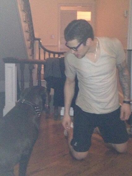 Tyler Seguin and his dog, Marshall, after Marshall ruined Seguin's hat (Source: @tylerseguin92)