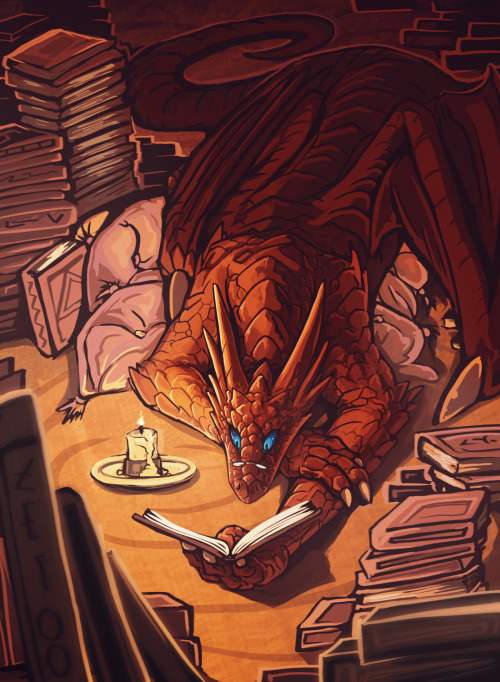 bravoart:  darkoverord:  awesomedigitalart:  Bookwyrm by *Chromamancer  d'aw  Not trying to interpret a picture or anything, but I love the idea of a dragon that hoards books and knowledge like most dragons would gold and gems and other worldly treasures. Yes book dragons. Not being an inherent fan of dragons - I could possibly like this.