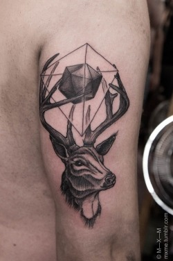 andbrightside:  Tattoo ideas / ©m-x-m #deer #antler #tattoo #arm #geo on We Heart It. http://weheartit.com/entry/60704992