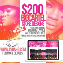 $200+ BigCartel Store Designs! Upgrade your shoppers experience!