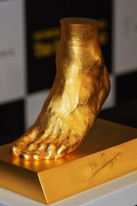 thescore:  This is a replica of Lionel Messi's left foot. It weighs 25 kg and is worth $5.25 million dollars. Whoa.