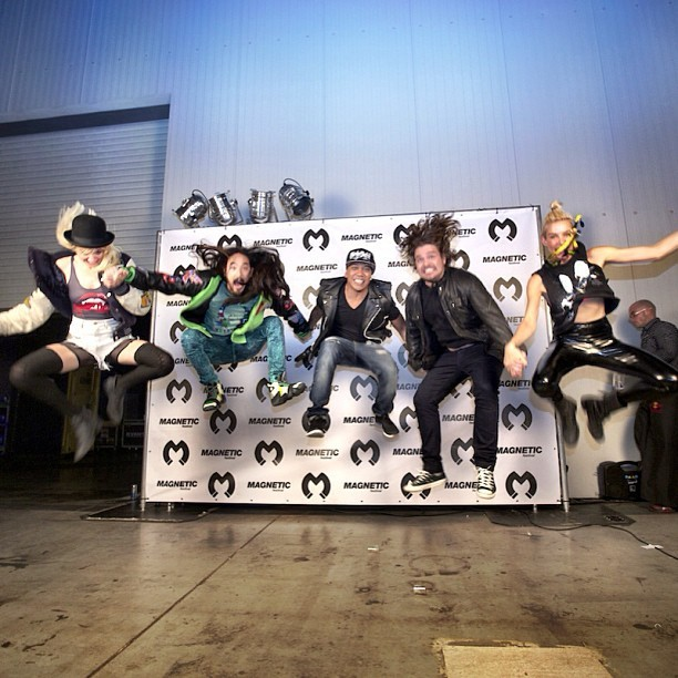 steveaoki:  #aokijump #346 The Aoki x @Djchuckie x @Nervomusic x @Tommytrash Jump. Magnetic Festival. Prague Czech Republic. May 6, 2013.