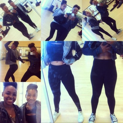 lol my baby @ulyssamejia & i in dance today we matched , we are officially nuts about each other ❤😘😏😍 , #Mainsqueeze #TeamBun #TWERKTEAM #MyTwinBaddie #Wedidntevenplantodressalike