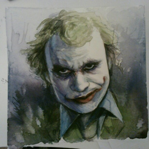 #heath #ledger #darkknight #joker #d.c #watercolor #almostdone