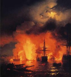 "dawnawakened:  Ivan Aivazovsky, Battle of Cesme at Night (1848)  ""Ivan Aivazovsky was a famous Russian artist specializing in seascape and landscape portraits. He was born into the family of a destitute Armenian merchant in the Crimean city of Feodosia on 17 July 1817. At the time of Aivazovsky's birth the city was devastated after a recent war and was still suffering from the consequences of a plague epidemic that had affected the region in 1812."" - Russiapedia"