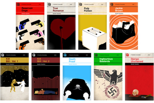 Quentin Tarantino Screenplays as Classic Penguin Style Book Covers UK-based illustrator Sharm Murugiah has reimagined a collection of screenplays by director Quentin Tarantino in the style of classic Penguin book covers. Prints of each design are available to purchase online. Source: Laughing Squid