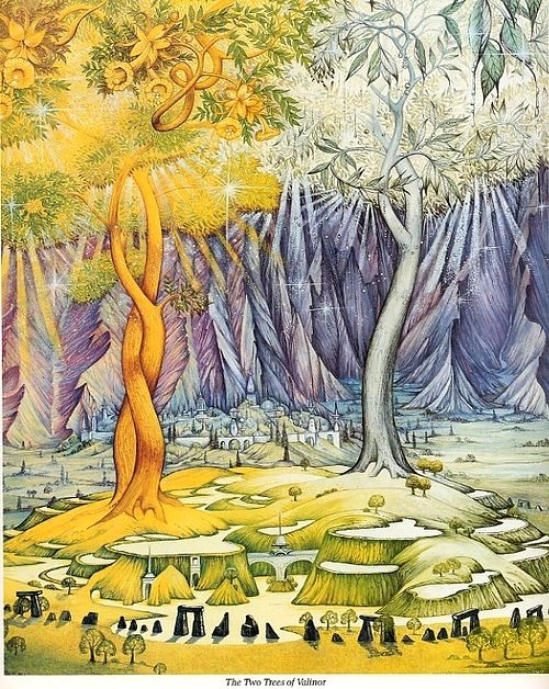 "luthien-ar-feiniel:  The Two Trees of Valinor by Roger Garland ""Telperion: Elder of the Two trees. Its blossoms were shining white and the dew that spilled from them was of silver light.Also known as Silpion. Laurelin: The younger of the Two trees. It had green leaves edged with gold and flowers like clusters of yellow flame. Golden light dripped from them to the ground. Men referred to this as Golden rain"""