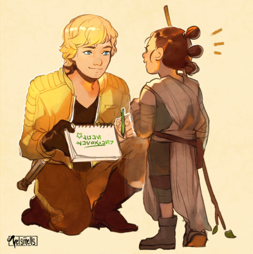 veloce draws poop doodle luke skywalker rey star wars ive beeen super stressed n drawing these two are fun so pls forgive me lol... everyone who tagged on my last sw drawing with rey skywalker you guys r valid