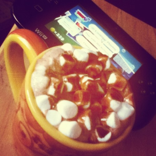 Enjoying some #hotchocolate I made and #wiiu on this #cold cold day! #marshmallows #delicious #drink #food #wii u #marshmallow #games #gaming #blackwiiu #black #wii #u