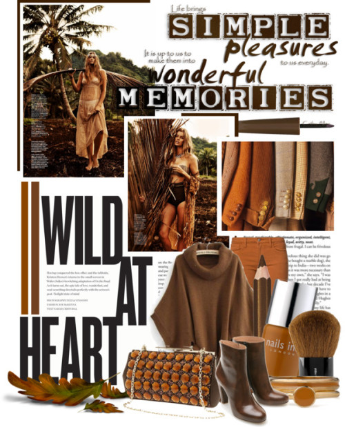 Wild at Heart by queenrachietemplateaddict featuring beaded handbagsBrown top / Joe's Jeans super skinny jeans, $270 / Maison Martin Margiela leather boots / Banana Republic beaded handbag / American Apparel enamel jewelry / Collistar pencil eyeliner, $29 / Barry M , $7.61 / H&M , $6.34 / Nails Inc , $17