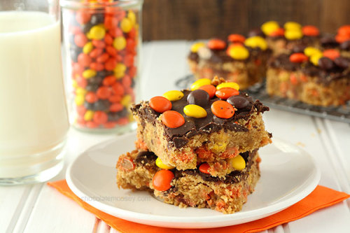 bakeddd:  reese's pieces chocolate peanut butter blondies click here for recipe