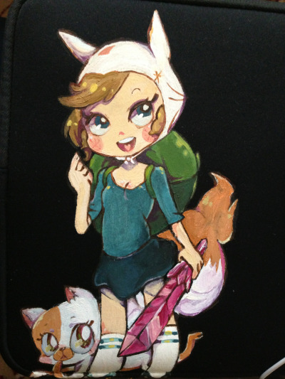 Painted fionna and cake on my laptop case!