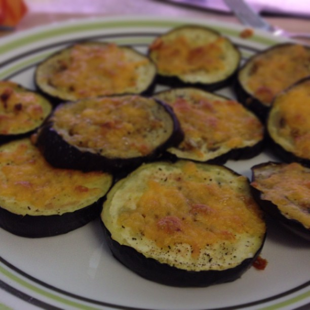 Baked eggplant with cheese for lunch.