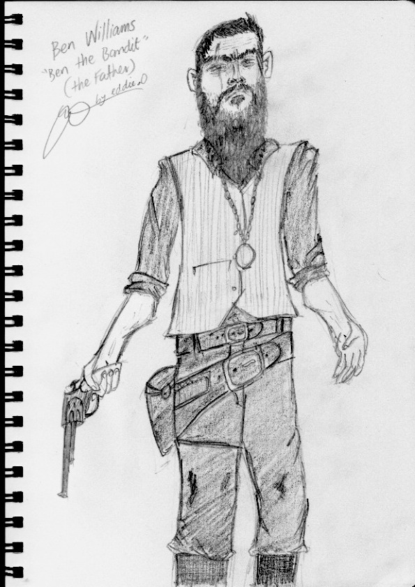 "Sketch of my villain for my major project ""the Father"". Ben ""the Bad-Nit"" Williams, yes I changed his nickname between scanning and placing it on here. Don't judge me."