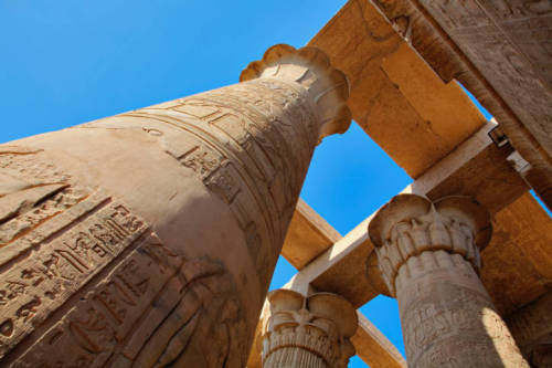 pharaohlife:  View from below: Kom Ombo Temple of Horus the Elder and Sobek