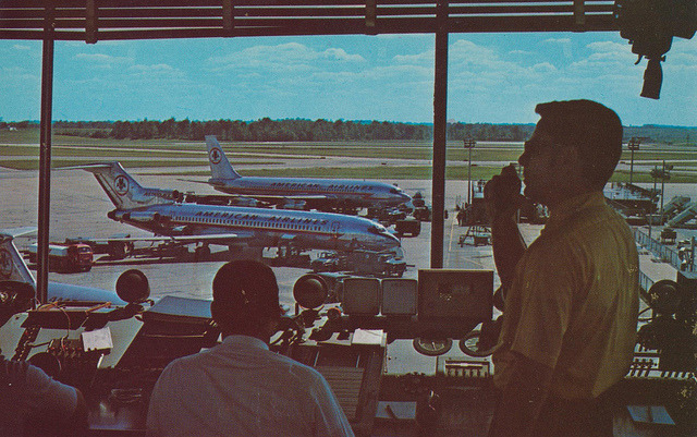 """cardboardamerica: """"Greater Cincinnati Airport A view from the Control Tower of the Greater Cincinnati Airport. A large hub airport G.C.A. is destined to become the """"International Airport of the Midwest"""" """""""