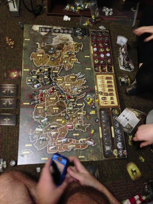 parksandstarks:  Played the Game of Thrones board game all day (4pm-1am) :)   So much fun!! Won as the Greyjoys (black)! Can't wait to play again!