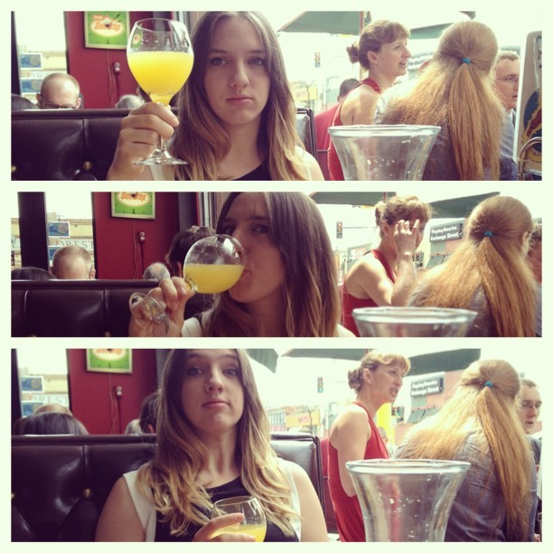 Graduation mimosas.  (at The Bad Waitress Diner & Coffee Shop)