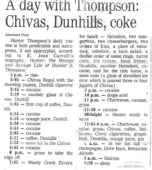 A Day in the Life of Hunter S. Thompson