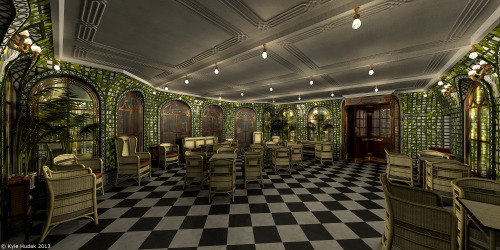 bouncingdodecahedrons:  My 3D model of Titanic's First Class Verandah Cafe and Palm Court. It took me forever to make, mostly due to procrastination and having to work on this other project, but I finally finished it. I made it for a game modification/add-on called 'The Mafia Titanic Mod', which you can find out more about by clicking here.