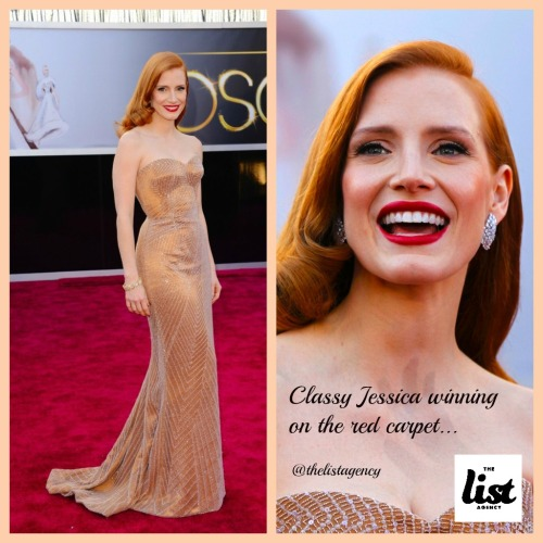 We LOVE the Oscars at The List Agency, and we think Jessica Chastain stole the red carpet this year in Giorgio Armani. Clean and classic.