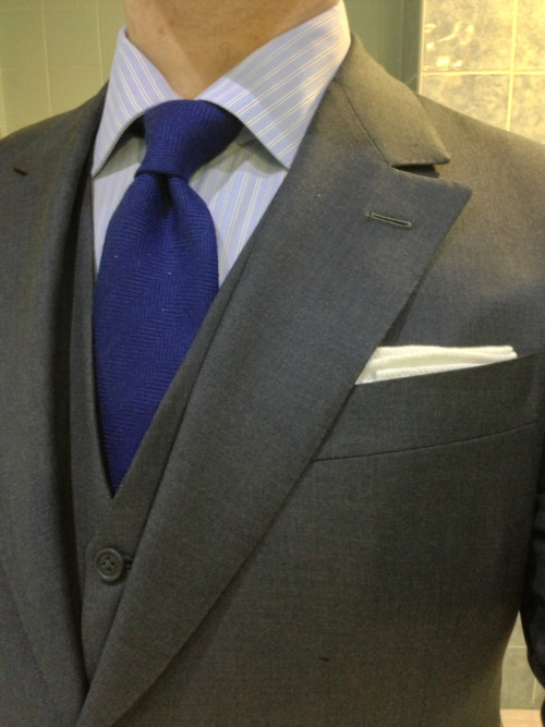 Arnys 3-piece handmade suit, bought 60% off at once-in-a-lifetime Arnys sale in the final days before the Berluti/LVMH armageddon. Lucca bespoke shirt. Charvet braces. Profilo Italiano wool tie.