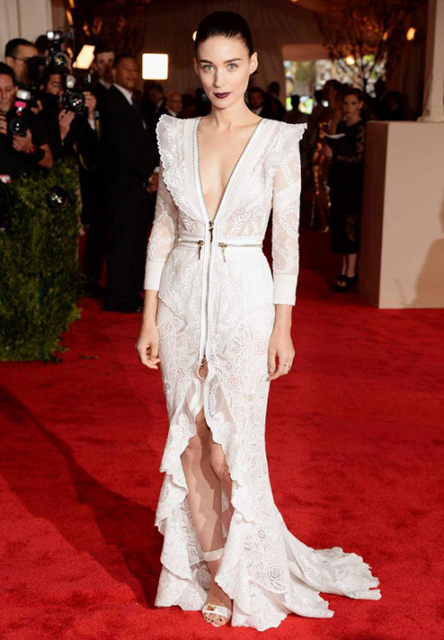 Rooney Mara in Givenchy Best Dressed at the Red Carpet of Costume Institute Gala for the 'PUNK: Chaos to Couture' exhibition at the Metropolitan Museum of Art 2013. May 7th, 2013 8:08  P.M. GMT.