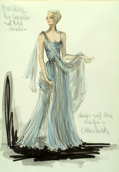 Vintage Tuesday: Great films, Great Costumes.  Sketches by Edith Head, the Golden Age costume designer.  Costume for Grace Kelly