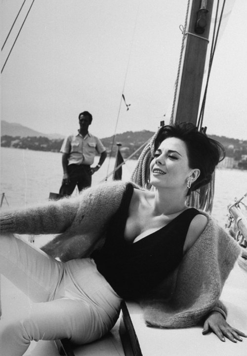 Natalie Wood relaxes on a sailboat during the 1962 Cannes Film Festival. See more photos here... via life (Paul Schutzer—Time & Life Pictures/Getty Images)
