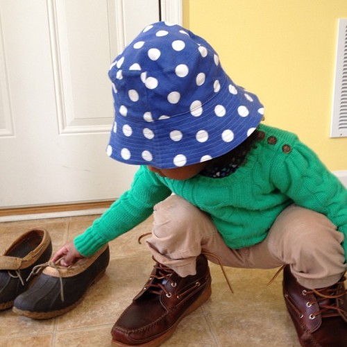 Avery wanted to try on my @llbeansignature boots. #llbean #kids #preppy #prep #cute #children #boots