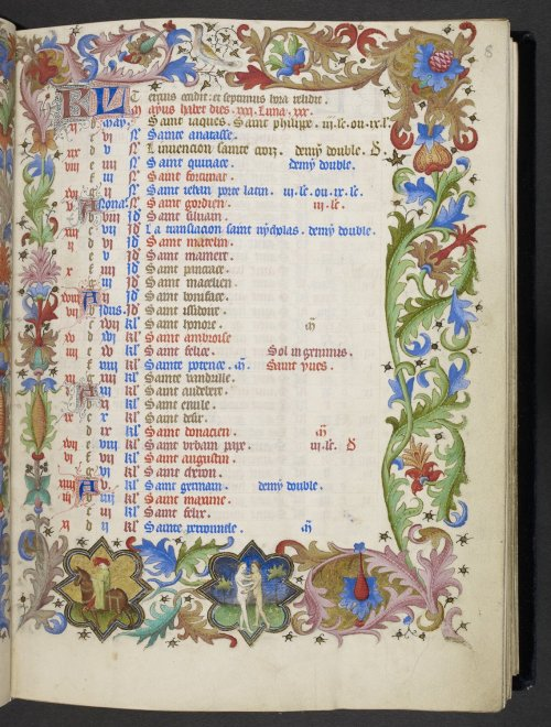jothelibrarian:  Pretty medieval manuscript of the day is a beautiful calendar for May from a stunning manuscript called the The Hours of René d'Anjou which is in the collection of the British Library. Image source: British Library MS.Egerton 1070. Image declared as public domain on the British Library website.