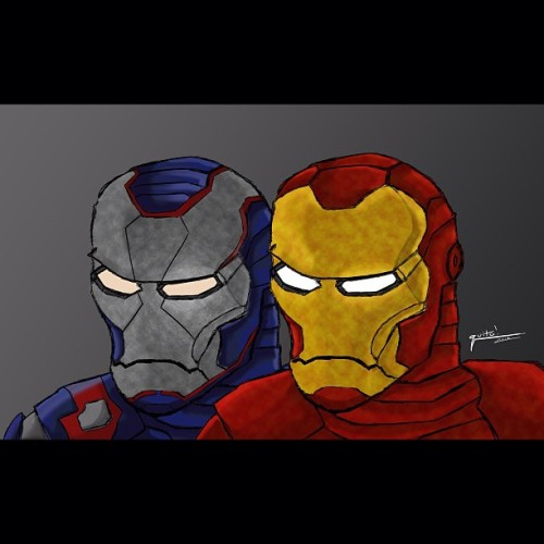 Iron Man & Iron Patriot. #ironman #ironpatriot #digidrawing #digital #marvel #comics #brainisfried #dontknowwhatelsetohashtagthisas #photoshop #wacomtablet #bloop