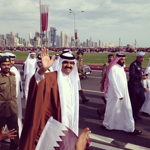 The perks of waking up at 3:30 in the morning during Qatar National Day? You get a front row seat during the parade of Qatar's military troops, vehicles, and weapons, and be able to see up close His Highness Emir Sheik Hamad bin Khalifa Al-Thani. ✨👑 ✨QatarNationalDay2012 #Emir #King #Qatar #Doha #Corniche #CityCenter #travel #places #aroundtheworld #MyTravelGram #igers #flags #events #morning #Tuesday #December #2012 #happy #great #show #parade @mytravelgram