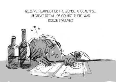 zombiestext:  (203): We planned for the zombie apocalypse. In great detail. Of course there was booze involved.