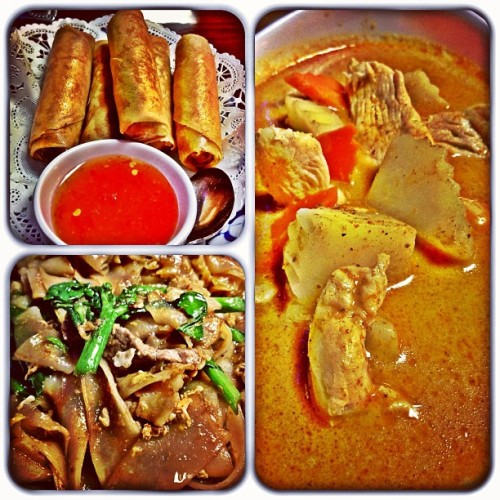 Veggie Egg Rolls, Beef Pad See-Ew, and Yellow Chicken Curry with Coconut Milk. @jtweezy32