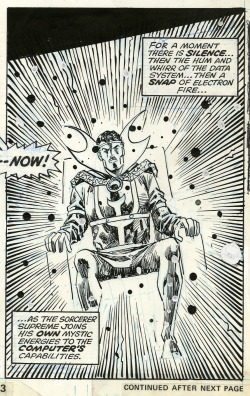 Doctor Strange, as rendered by Sal Buscema and Vince Colletta, in Defenders #27, 1975.